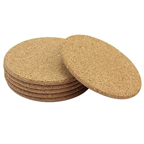 Merssavo 6Pcs Round Cork Coaster Drink Tea Coffee Cup Place Mat Holder  Household Kitchen Table Decor Pad
