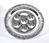 Silver Plated Passover Seder Plate - Traditional Judaica Passover Seder Plate - (12'' Diameter) By Ner Mitzvah