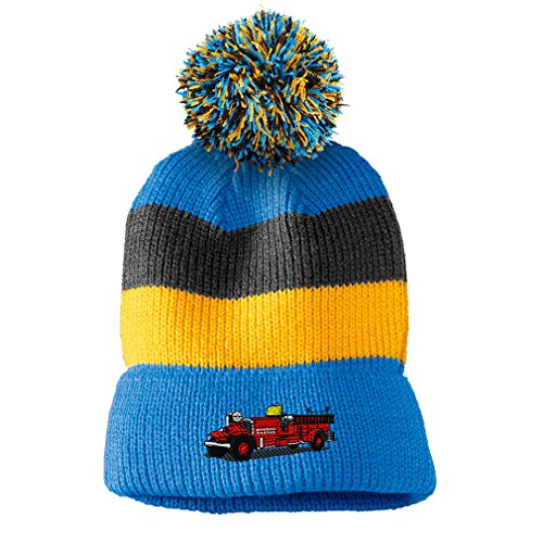 Antique Fire Truck Embroidery - Antique Fire Truck Embroidery Design Vintage Striped Beanie Removable Pom Pom Blue/black/yellow Stripes