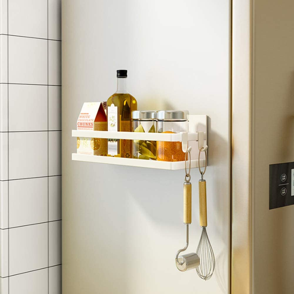 SNTD Magnetic Shelf Organizer Kitchen Spice Rack Laundry Shelves w/Utility Hooks, White