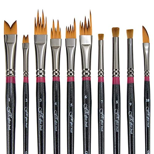 Creative Mark FX Special Effects Paint Brush Set Unique Ribbon, Multi-Line, Angular Dabber Style Professional Artist Paint Brush Set for Watercolor, Thinned Acrylics & Oil Paint [Set of 10] by Creative Mark