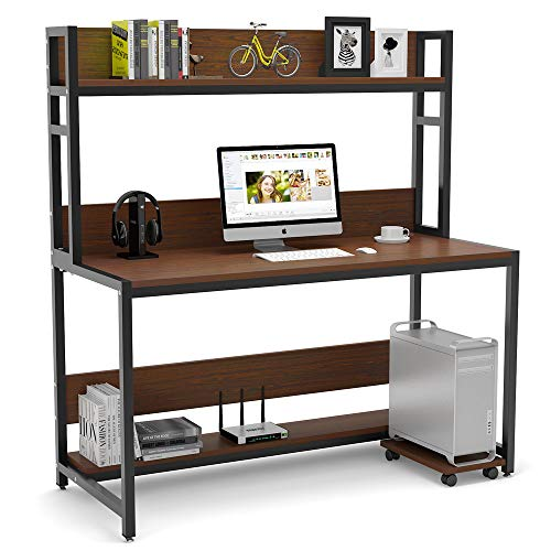 (Tribesigns 55 Inches Large Computer Desk with Hutch, Modern Writing Desk with Bookshelf, PC Laptop Study Table Workstation for Home, Cherry Brown + Black Legs)