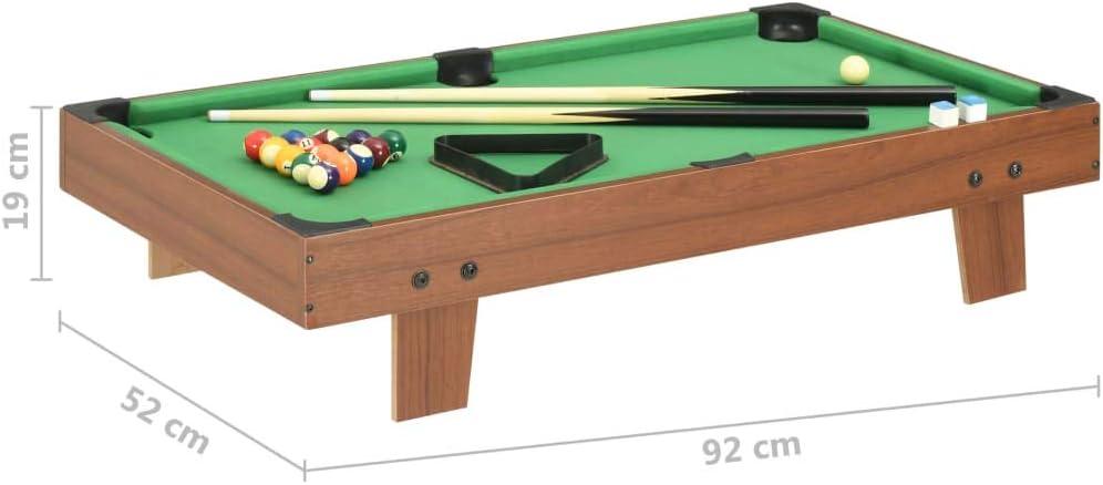 Festnight Mini Mesa de Billar Marrón y Verde 92X52X19 Cm, Set para ...