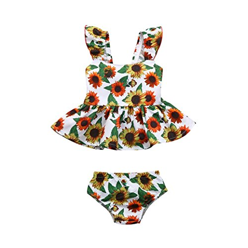 Staron 2pcs Newborn Baby Clothes Set Dress+Shorts Floral Print Sunflower Outfits (6-12 Months, Multicolor❤️) (Bitty Baby Cloth)