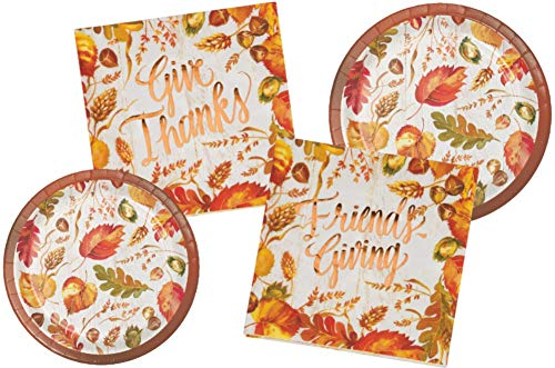 Friendsgiving Thanksgiving Party Supply Pack: Bundle Includes Paper Dessert Plates & Napkins in a Fall GIve Thanks Friendsgiving Design for 16 Guests