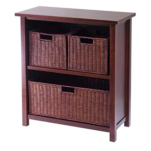 (Winsome Wood Milan Wood 3 Tier Open Cabinet in Antique Walnut Finish and 3 Rattan Baskets in Espresso)
