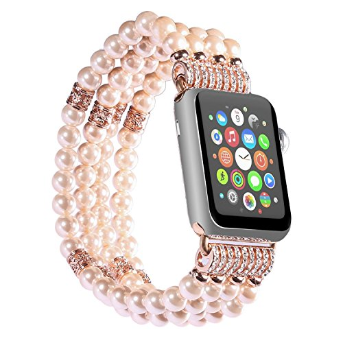 Watch Band for Apple Watch 38mm/42mm Handmade Luxury Beaded Faux Pearl Watch Strap Elastic Strech Replacement Bracelet Band for Apple Watch Series 1 Series 2 Series 3 (Pink-38mm) (Watches Handmade Beaded)