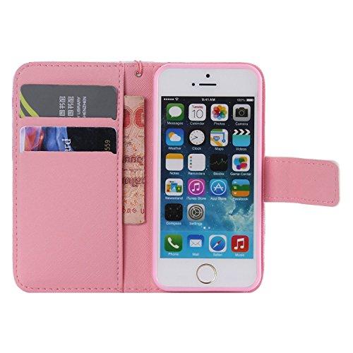 Laoke - Carcasa de silicona para teléfono móvil, cubierta pintada para iPhone 5/5S/SE de Apple + protector contra el polvo blanco 12 14