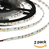 HERO-LED 5M300SAD-NW LED Strip Tape Light, 5M 16.4FT 1800LM 12V DC 24W IP33 LED Tape, Natural White 4000K, 2-Pack