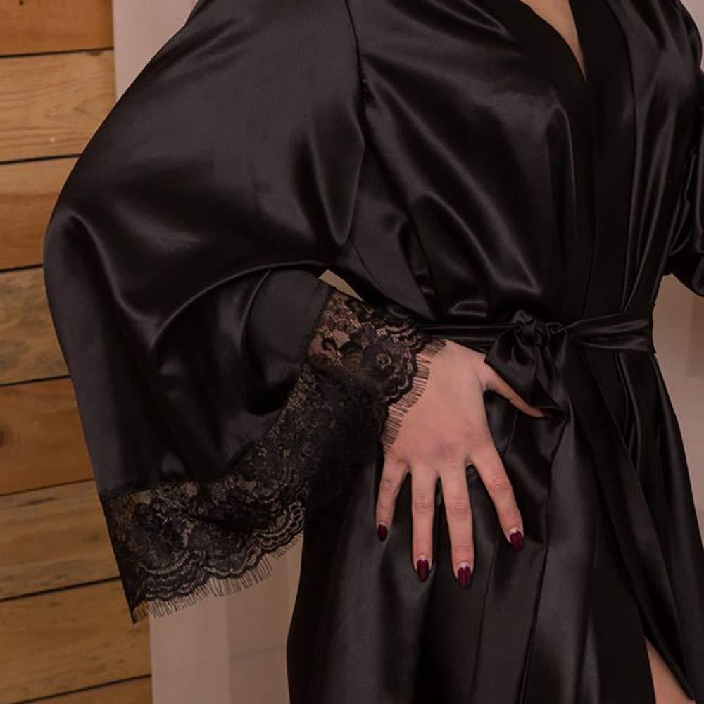 Pervobs Women Sleepwear Lingerie Sexy Soft Lace Temptation Belt Underwear Nightdress(S, Black) by Pervobs Tunics (Image #4)