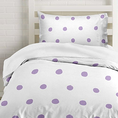 Lilac Polka Dot Duvet Cover Twin Size Bedding, Soft and Wrinkle Free, White and Purple 2 Piece Set (And Cover Duvet White Purple)