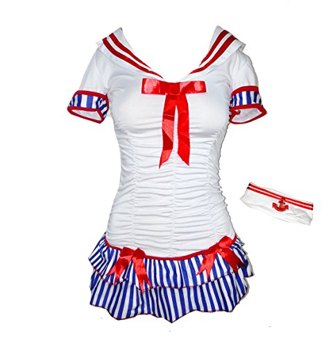 Bslingerie Sexy Sailor Costume Dress with Hat (M, Sailor) (Sexy Striped Sailor Costume)