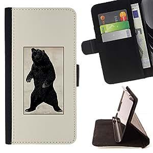 Momo Phone Case / Flip Funda de Cuero Case Cover - Black Grizzly Bear Roar - Vintage Poster - Sony Xperia Z5 5.2 Inch (Not for Z5 Premium 5.5 Inch)