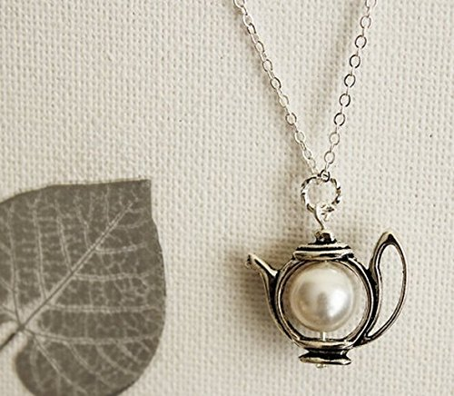 (Teapot Necklace. Antique Silver Teapot with Swarovski Pearl. Pastel. Gift For)