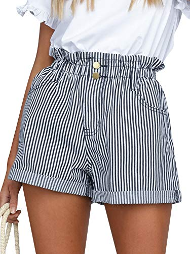 Simplee Women's Casual High Waisted Shorts Elastic Striped Mini Shorts with Pockets Navy Striped 10