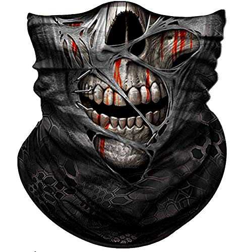 (BonneChance Skull Face Mask 3D Tube Mask Half Sun Dust Wind Protection Seamless Face Mask Bandana Skeleton Face Shield Motorcycle Bike Riding Fishing Hunting)
