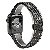 KOBWA For Apple Watch Band, 38mm Alloy Crystal Rhinestone Diamond Watch Band Luxury Stainless Steel Replacement Band Strap for Apple Watch All Models