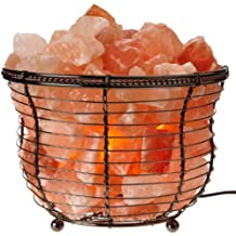 Himalayan Glow Natural salt lamp, Tall Round Basket, 8in High, 10LBS, dimmable table lamp by WBM