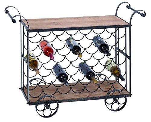 "Bar Cart - Metal Wood Wine Trolley 40""W, 31""H"