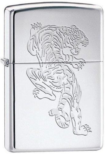 Asian Tiger Laser Engraved High Polish Chrome Zippo Lighter
