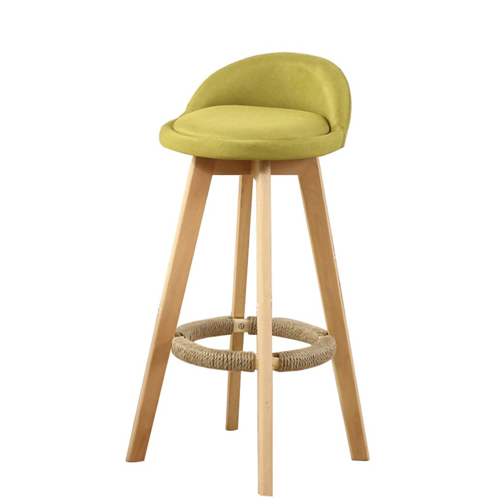 JHome-barstool Furniture Green Bar Stool Modern Style Bar Chair for Kitchen Breakfast redating Stool Wooden Legs (Sitting Height  73CM) for Kitchen   Pub   Café