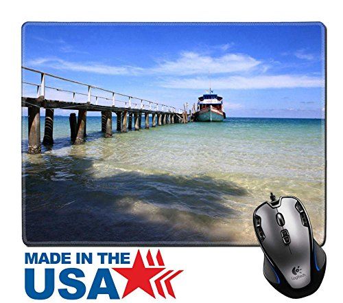 "MSD Natural Rubber Mouse Pad/Mat with Stitched Edges 9.8"" x 7.9"" IMAGE ID 19913728 Traditional floating restaurants Thai style on the beach (Coastline Outdoor Furniture)"
