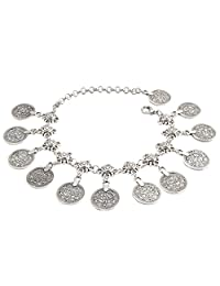 Jane Stone Vintage Silver Tone Boho Style Antique Coin Tassels Beach Anklet(B0480)