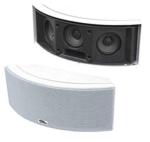 Pyle Home PDWR68W 500-Watt 3-Way Indoor/Outdoor Waterproof Center-Channel Speaker (White) (Pair) (Subwoofer And Center Speaker)