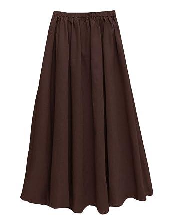 e993acf01 Soojun Women's Solid Cotton Linen Retro Vintage A-line Long Flowy Skirts at  Amazon Women's Clothing store: