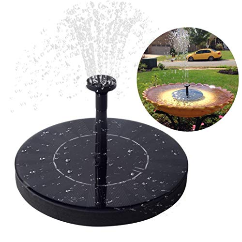 Immuson Solar Fountain Pump, Free Standing Bird Bath