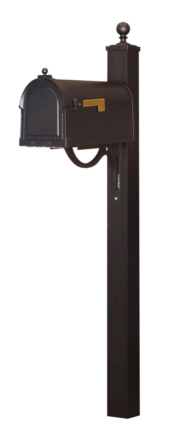 Special Lite Berkshire Curbside Mailbox with Springfield Mailbox Post - Black