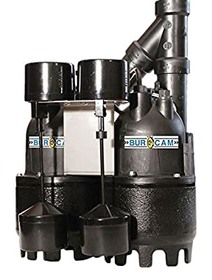 """BurCam 300828TWP Submersible Duplex Sump Pump, 1.5"""" Discharge with 1.25"""" Reducer, 1/3 hp, Vertical Switch, 4700 GPH Max"""
