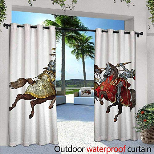 Medieval Exterior/Outside Curtains Middle Age Fighters Knights with Ancient Costume Renaissance Period Illustration for Patio Light Block Heat Out Water Proof Drape W120 x L108 Multicolor for $<!--$83.30-->