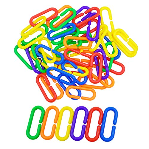 300pcs Plastic C Clips Hooks Chain Links Parrot Bird Toy Cage Rat Toys Child Toy Parts Kids Learning Toys ()