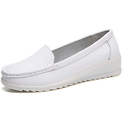 ZYEN Women's All White Nursing Shoes Comfortable Slip On Nurse Work Wedge Leather Loafers | Loafers & Slip-Ons
