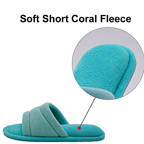 d22e56b3ded2 Wishcotton Women s Open Toe Slide House Slippers Comfy Velvet Lined Memory  Foam Indoor Shoes (M