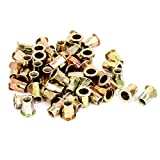uxcell® M8 Flat Head Half Hex Body Threaded Rivet Nuts Nutserts 50 Pcs