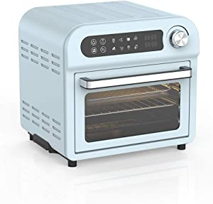 Convection Toaster Oven Air fryer Combo 8-in-1 Countertop Conventional Electric Touchscreen Digital Stainless Steel Compact Baking Roasters With Rotisserie Dehydrator Recipe Included Small Appliances with LED Display for Kitchen Home 11 QT Small Capacity (Teal)