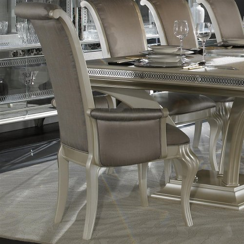 Amazon.com   Aico Hollywood Swank Leg Dining Table Set 9 Piece In Pearl  Caviar By Michael Amini   Table U0026 Chair Sets