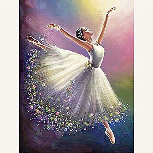 Diy 5D Diamond Painting Kits, Full Canvas Painting With Diamonds For Adults, Paint By Diamonds For Dream Home Decoration Art Craft 9.8X11.8 Inches, White Skirt Girl(Frameless) -