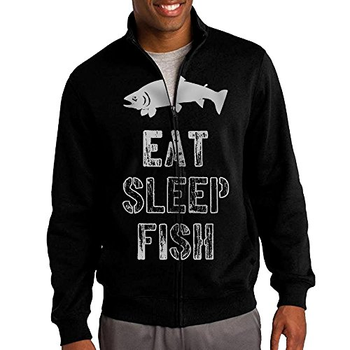 Men's Eat Sleep Fish Solid Stand Collar Zipper Jacket Size M - Hunger Games Characters Costumes