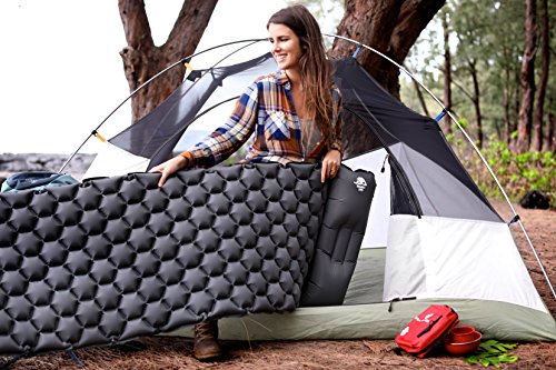 Legit Camping Sleeping Pad Camping Mat by The Most Comfortable Sleeping Mat - Rolls Up Tight - Air Support Cells Transform Your Camping Mattress and Camping Pad - Best Outdoor Sleep (Grey)