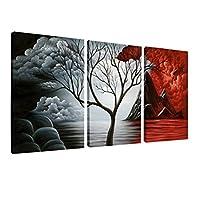 Wieco Art The Cloud Tree Arte de la pared Pinturas al óleo Giclee Paisaje Lienzos para decoraciones para el hogar, 3 paneles