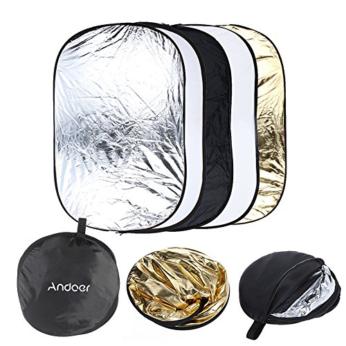 Andoer 5 in 1 Portable Photography Studio Multi Photo Collapsible Light Reflector 60 x 90cm (24 x 36 inch) with Carrying Bag by Andoer