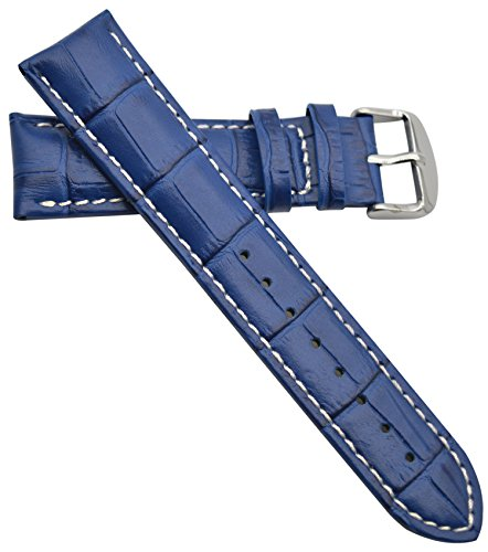 uine Leather Watch Strap Colorful Replacement Watch Band (Blue/White, 22mm) (Genuine Alligator)