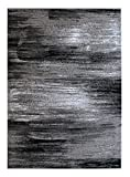 Masada Rugs, Modern Contemporary Area Rug, Grey Black White (8 Feet x 10 Feet)