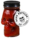 Skull Hot Sauce: Bone Rattler Edition | Skull Mason Jar filled with Fiery Hot Sauce to be put on Pizza, Salads, Tacos, and More