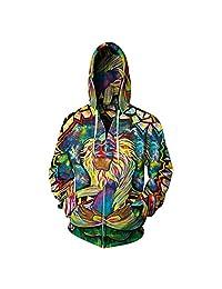 Unisex Men Winter Fleece Hooded Sweaters Zipper Hoodies 3D Jacket Coat