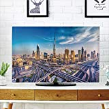iPrint LCD TV Cover Multi Style,City,Panoramic View of Dubai Arabian Cityscape High Rise Buildings Traffic Roads,Blue Ivory Marigold,Customizable Design Compatible 50''/52'' TV