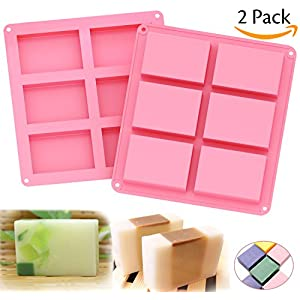 Ozera 6 Cavities Silicone Soap Mold (2 Pack), Baking Mold Cake Pan, Biscuit Chocolate Mold, Ice Cube Tray